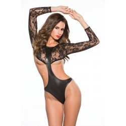 Top Lace Open Side Teddy Black Os